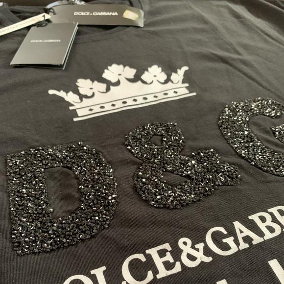 1282949a681b Dolce & Gabbana Tops | Black Tshirt With Crystal Logo | Poshmark